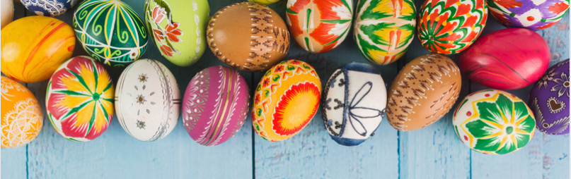 Easter activity with kids-colourful Easter eggs