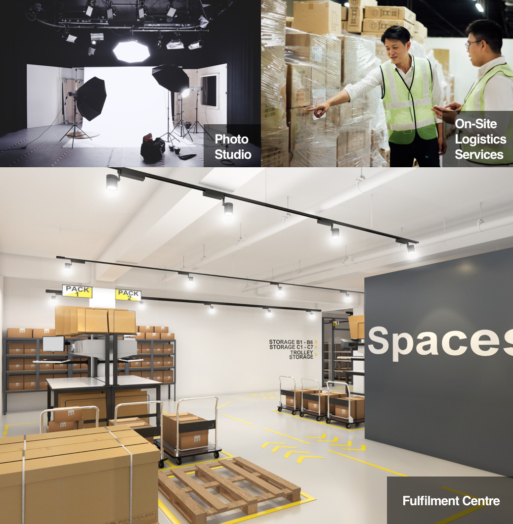 Spaceship co-warehouse's on-site logistics services and amenities