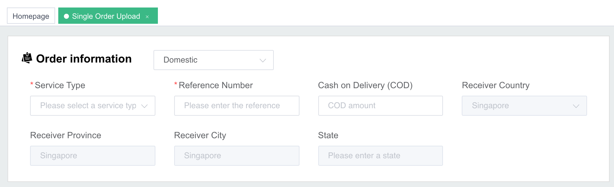 order details like cash on delivery, weight of item during shipping