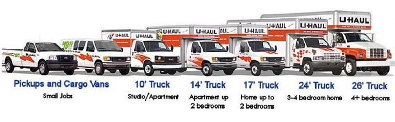 estimate truck size for moving - various trucks